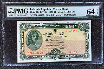 1976   Republic of Ireland Central Bank  1 Pound   PK# 64d  PMG 64  EPQ