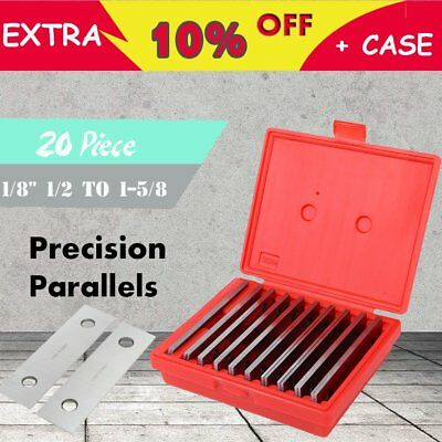 """1/8"""" Thickness Precision Steel Parallel Set 10 pairs/set 0.0002"""" + Case MG"""