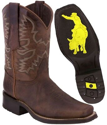 Mens Cognac Work Saddle Style Western Cowboy Boots Square Toe All Real Leather