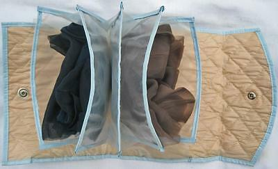 2 Pair+ Seamless Stockings in Vintage Blue Quilted Plastic Travel Storage Case