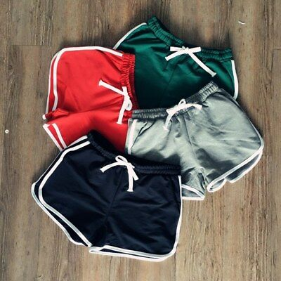 Women's Drawstring Elastic Waist Side Striped Shorts Sports Running Hotpants