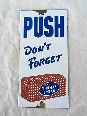 Vintage Don't Forget Thomas Bread Porcelain Advertising Door Push Plate Sign