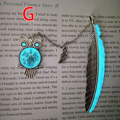 1X Luminous Night Owl Bookmark Label Read Maker Feather Book Mark Stationery vO