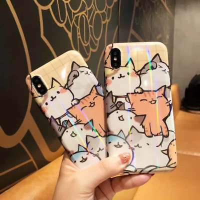 Laser Cat Kawaii Cartoon Cute Phone Case Cover Skin For iPhone 6 7 8 X XR XS Max