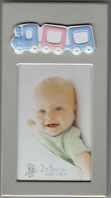 "Baby Picture Frame With Pastel Train, Boy, Holds 1.75"" x 2.75"" Photo, New"
