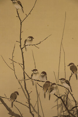 """JAPANESE HANGING SCROLL ART Painting """"Sparrows"""" Asian antique  #E3898"""