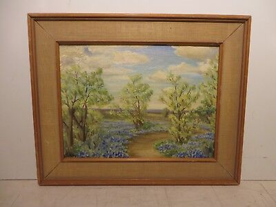 "9x12 org. 1950 oil painting on canvas by Dorsy ""Texas Bluebonnet Hill Country"""