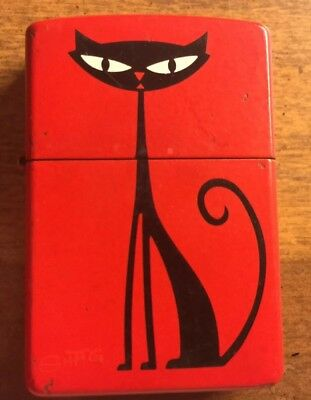 "RARE 1999 SHAG ""KITTY KAT' Original Black Cat ZIPPO LIGHTER Limited Edition USED"