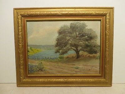"9x12 org. 1950 oil painting by Robert E Gault ""Texas Bluebonnet Hill Country"""