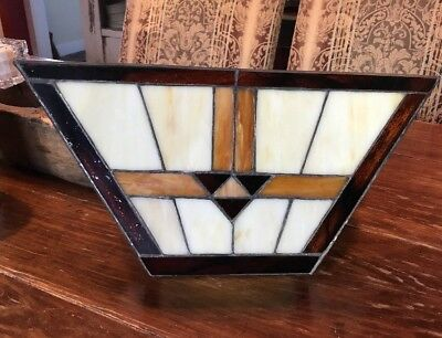 "QUOIZEL Deco Stained Glass Wall Sconces Amber Cream Brown 7.5""x16""x3.75"""