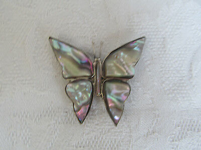 Mother of Pearl & silver Pin Brooch Necklace Butterfly Shape Vtg