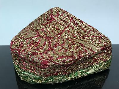 Vtg Ethnic Middle Eastern Taqiyah Embroidered Gold Threaded Cap Hat