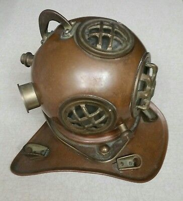 Copper and Brass Crafted Diving  Helmet Desk Ornament 7""
