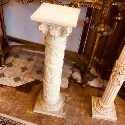 Antique French Style  Column / Stand / Pedestal With Figural & Floral Relief