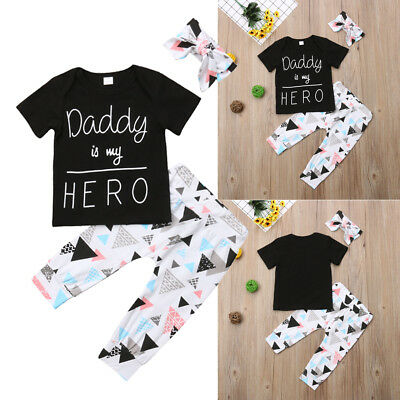 Newborn Kid Baby Boy Girl Daddy is my HERO Tops T-shirt+Pants Outfit Clothes Set