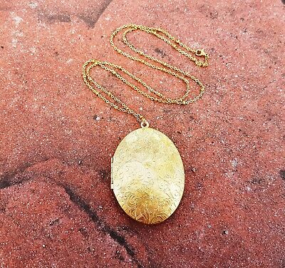 Golden Daffodils and Paisley Large Brass Oval Vintage Locket Necklace