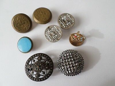 8 vintage & antique button covers or button fronts in cut steel enamel & 2 pairs