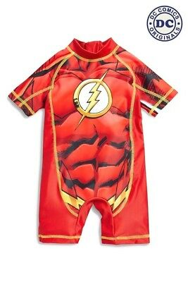 BNWT NEXT Baby Boys Red Flash SuperHero UPF50+ Sun Safe Swim Suit 3-6-9m 12-18m