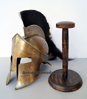 300 Movie Replica Medieval King Leonidas Spartan Helmet With Wooden Stand Gift