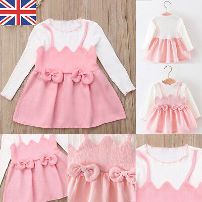 UK Toddler Baby Girl Long Sleeve Bowknot Tutu Party Pageant Formal Dress Clothes
