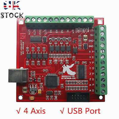 24V-DC CNC USB MACH3 100Khz Breakout Board 4-Axis Interface Driver Motion *UK