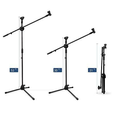Adjustable Foldable Tripod Boom Arm Microphone Floor Stand w/ 2 Mic Clip Holder