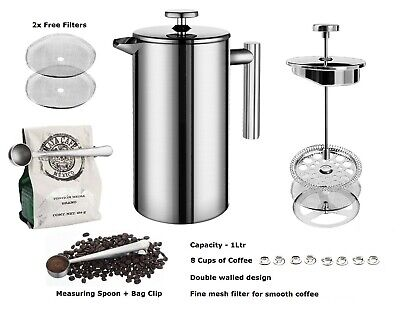 Stainless Steel Coffee Maker 1L French Press Cafetiere Measuring Spoon 2 Filters