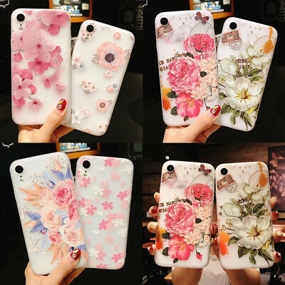 For iPhone XS Max XR X Retro Relief Floral Soft Phone Case For iPhone 6 7 8 Plus