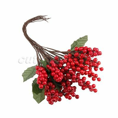 5X Artificial Berries Leaves Ornaments Decoration Mini Party Berry Flower Branch