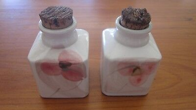 Robert Gordon Orchard Blossom Canisters Jars with cork stoppers Square VGC