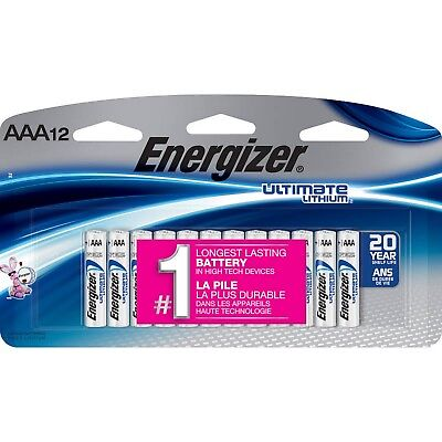 12 Energizer Ultimate Lithium AAA Batteries Exp 12-2037 BRAND NEW Retail Package