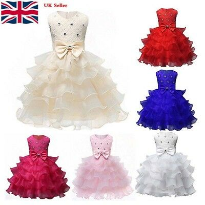 Kids Baby Girl Princess Dress Wedding Bridesmaid Pageant Party Bow Tutu Dresses