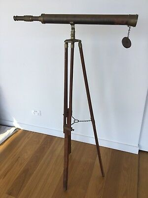 Vintage Nautical Marine Brown Brass Telescope With Floor Tripod Stand