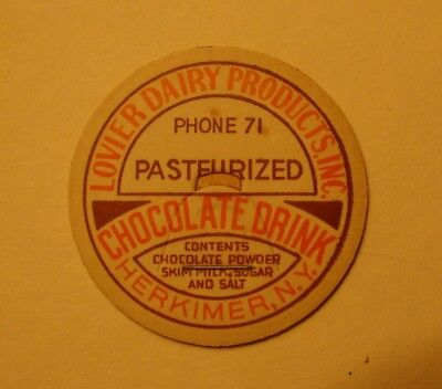 Lovier Dairy Products Herkimer,n.y.ny. Chocolate Drink 1 5/8 Milk Bottle Cap