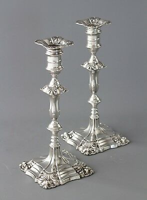 A Good Pair of Silver Candlesticks in Mid18C Style