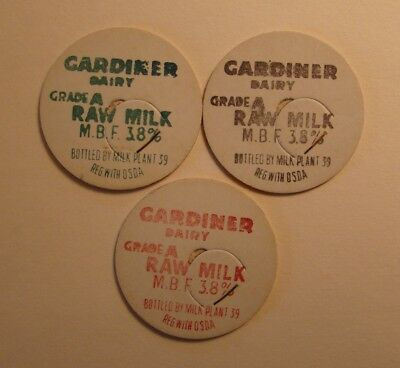 3 Gardiner Dairy,farm Gardiner,or.oregon Reg.with O.s.d.a. 1 5/8 Milk Bottle Cap