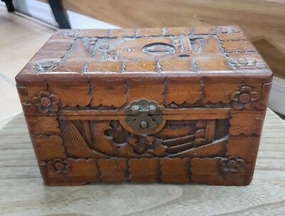 Vintage Hand Carved Chinese Asian Wooden Box Chest