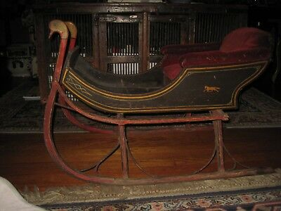 Antique  Child/Doll Carriage Sled Wood, Iron Velvet Seat Carved Wood Swan Heads