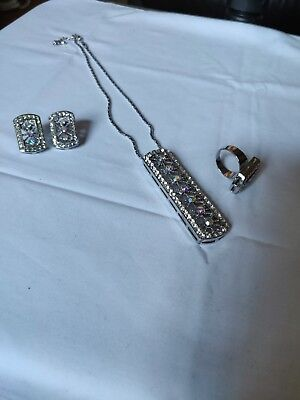 Diamond Necklace Earring And Ring Set