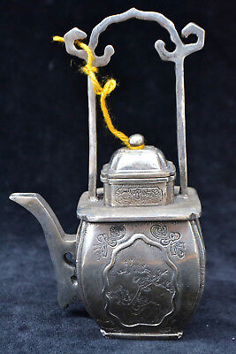 Collectible Old tibet Silver Statue pine tree Big HANDWORK rare chinese Teapot