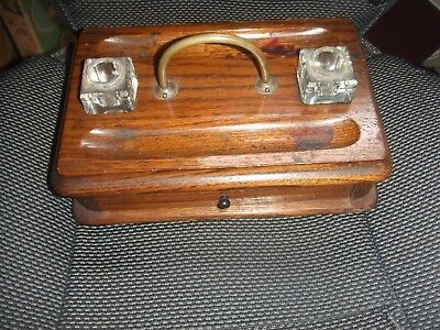 Antique Oak Wooden Pen and Ink Well Stand Metal Handle and Drawer 2 Ink pots