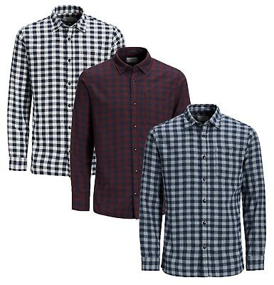 JACK & JONES Jacob Long Sleeve Shirt New Mens Slim Fit Check Smart Shirts