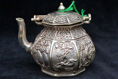 Collectible Chinese Old tibet Silver handwork 8 side rare big antique Teapot