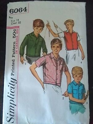 Vintage Boys Shirt Sewing Pattern