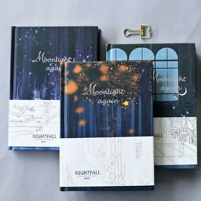 """Moonlight"" 1pc Cute Hard Cover Diary Notebook Journal Blank Memo Student Gift"