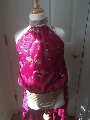 Lyrical competition dance costume, Burgundy , Adult Extra Small