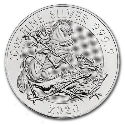 2018 Great Britain Valiant Series St. George 10 oz .9999 Silver Capsuled BU Coin