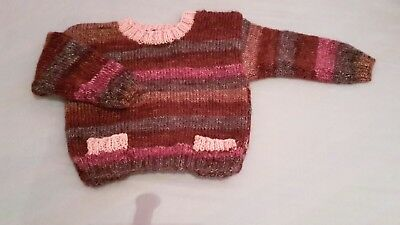 New Hand Knit Girls Jumper 6 - 12 months in shades of pink