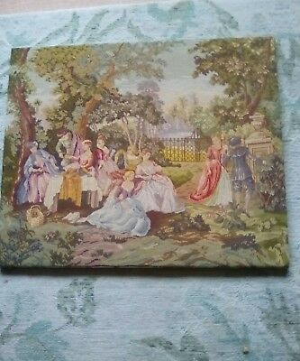 "large Vintage Tapestry Woolwork Petit point  Country Scene 24"" x 19"" Hand Worked"