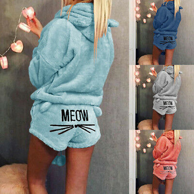 Women Winter Flannel Cartoon Warm Pyjamas Girls Homewear Causal Sleepwear Set